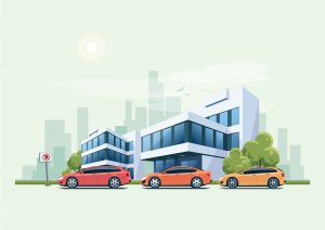 Vector illustration of modern business office building with green trees and cars parking in front of the workplace in cartoon style. Hatchback, station wagon and sedan parked on wrong place with no parking sign. City skyscrapers skyline on green turquoise background.